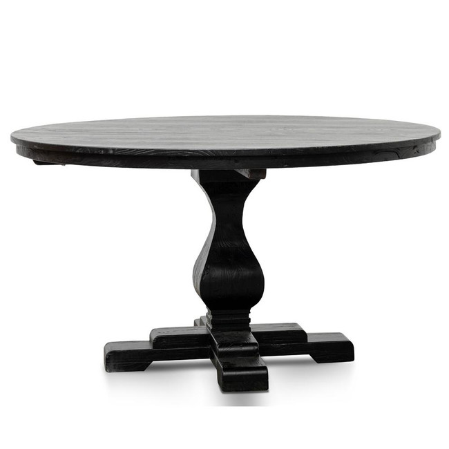 Eulo Reclaimed Round Dining Table - Rustic Black