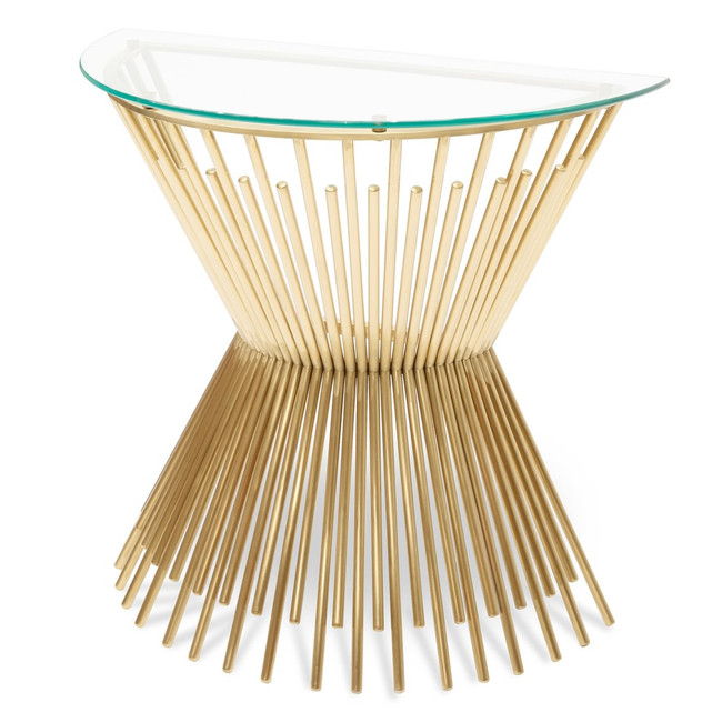 Omeo Glass Console Table - Brushed Gold Base