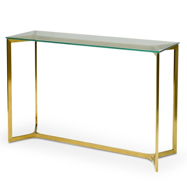 Quorn Glass Console Table - Gold Base