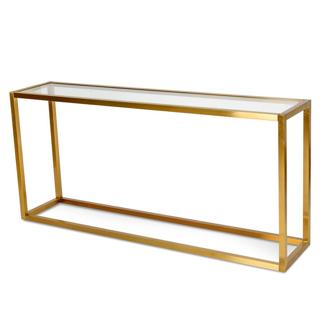 Koorda Glass Console Table - Tempered Glass - Steel Base