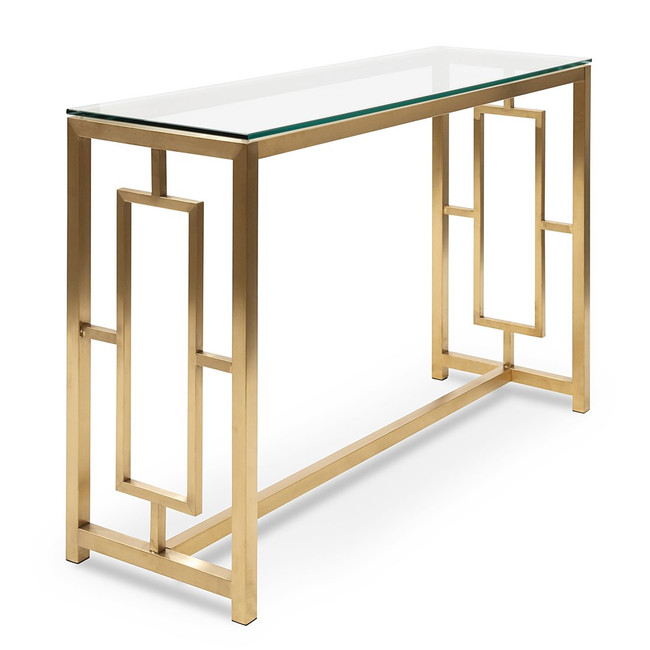 Milawa Glass Console Table - Brushed Gold Base