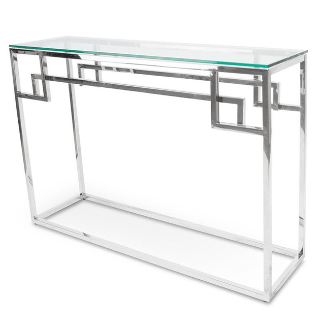 Noojee Console Glass Table - Stainless Steel Base