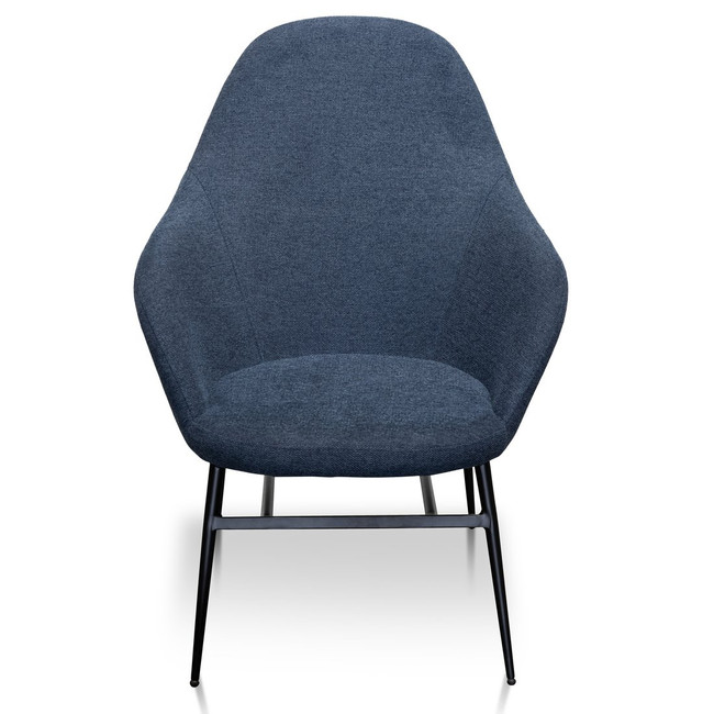 Gingin Fabric Lounge Chair in Navy Blue - Black Legs