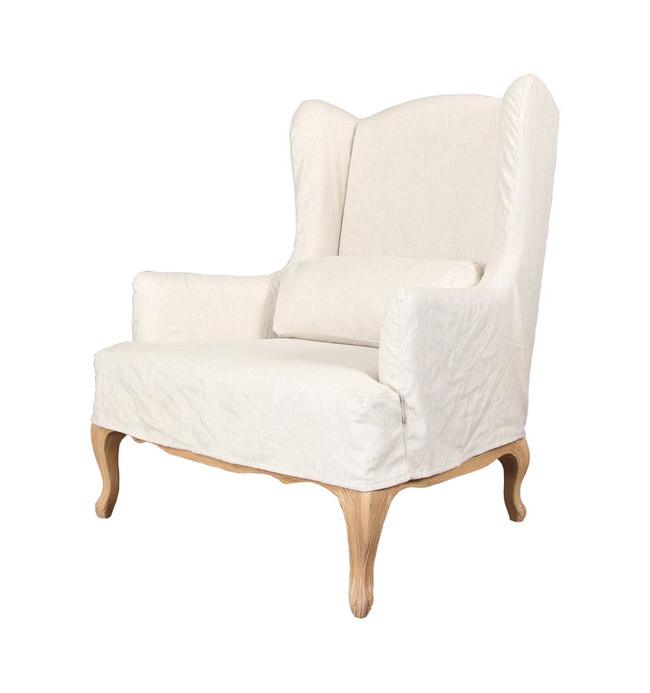 Cue Wingback Sand White Fabric Armchair - Natural Legs