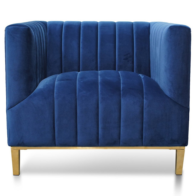 Louth Arm Chair in Blue Velvet - Brushed Gold Base