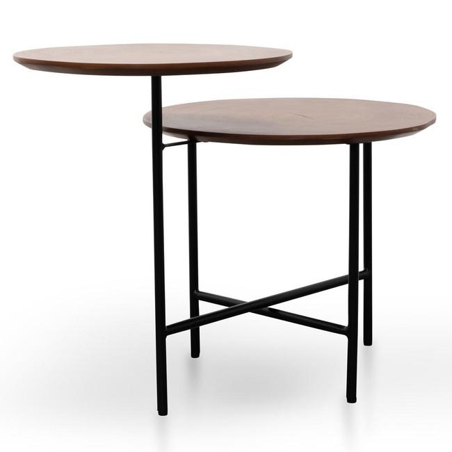 Lucknow Side Table - Walnut - Black Legs