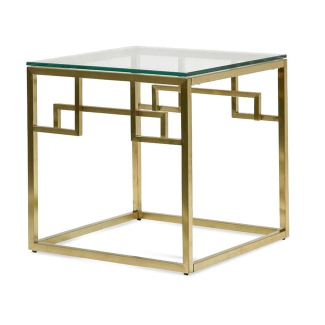 Goroke Side Table - Glass Top - Brushed Gold Base