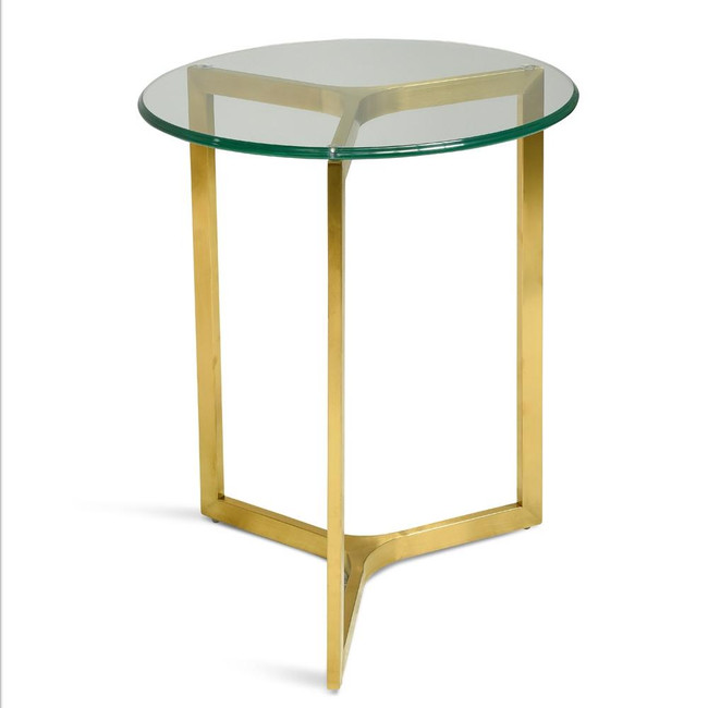 Newnes Round Glass Side Table - Gold Base