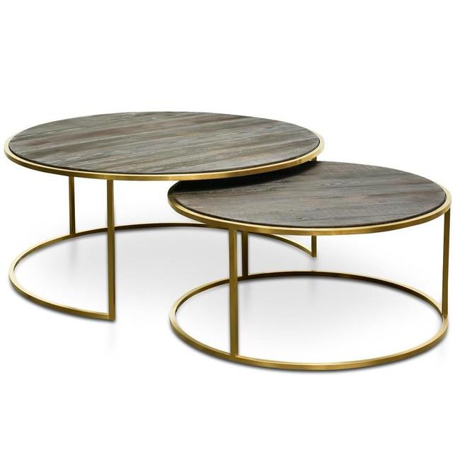 Skipton Nest Round Side Table - Natural - Golden Base