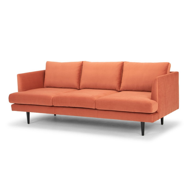 Eucla 3 Seater Sofa - Dusty Orange with Black Legs
