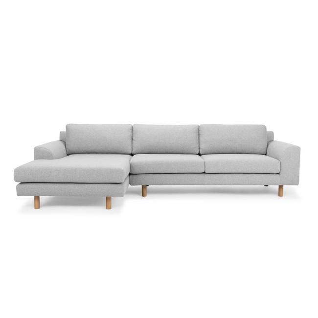 Melton 3 Seater Left Chaise Sofa - Light Grey