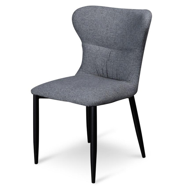 Dwellingup Beulah Fabric Dining Chair - Pebble Grey with Black Legs