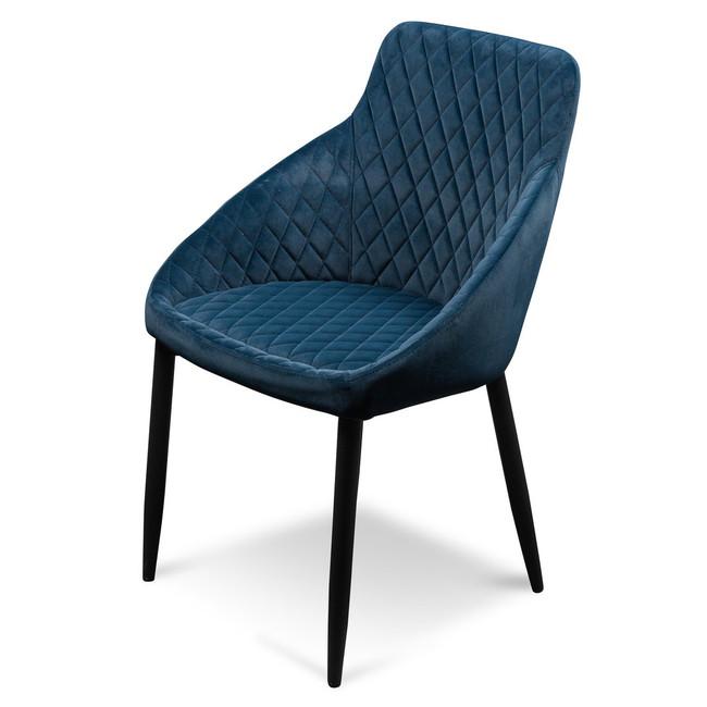 Eneabba Bowral Dining Chair - Navy Blue Velvet with Black Legs