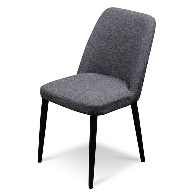 Erldunda Broome Fabric Dining Chair - Dark Grey with Black Legs