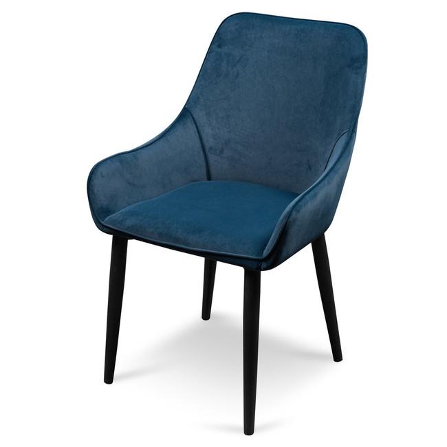 Gordonvale Camden Dining Chair - Navy Blue Velvet with Black Legs