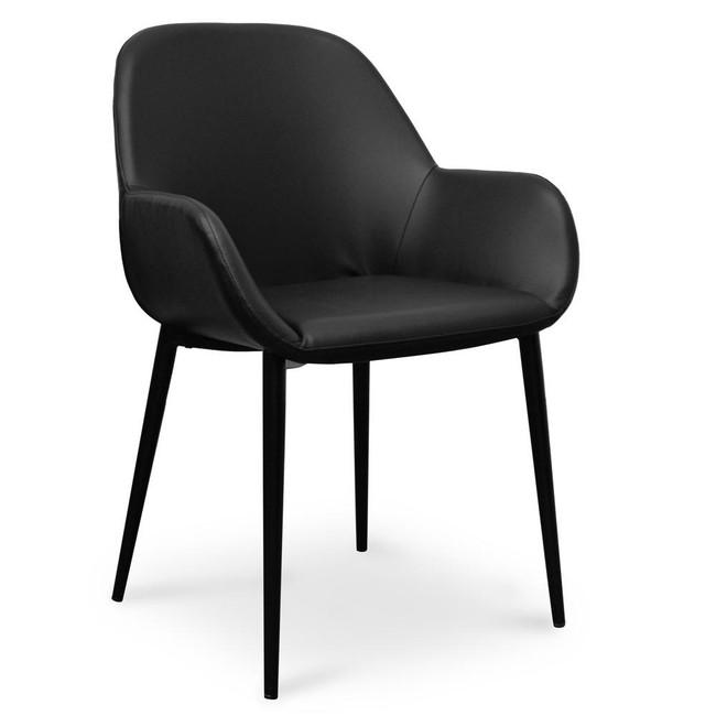 Hazelbrook Cooroy Dining chair - Black PU - Black Legs
