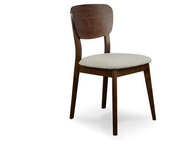 Katherine Denman Veneer Dining Chair - Fabric Seat - Walnut