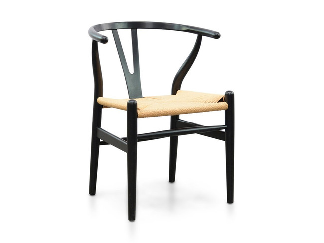 Kenilworth Foster Dining Chair - Black - Natural Seat