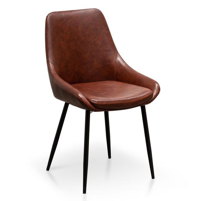 Macksville Kapunda Dining Chair in Cinnamon Brown PU Leather (Set of 2)