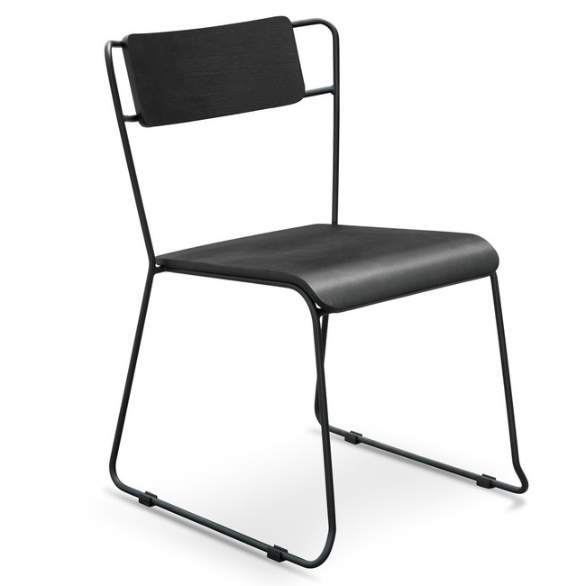 Maitland Kempton Dining Chair With Black Timber Seat - Black Frame