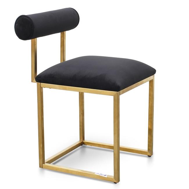 Merredin Lawson Dining Chair In Black Velvet - Brushed Gold Base