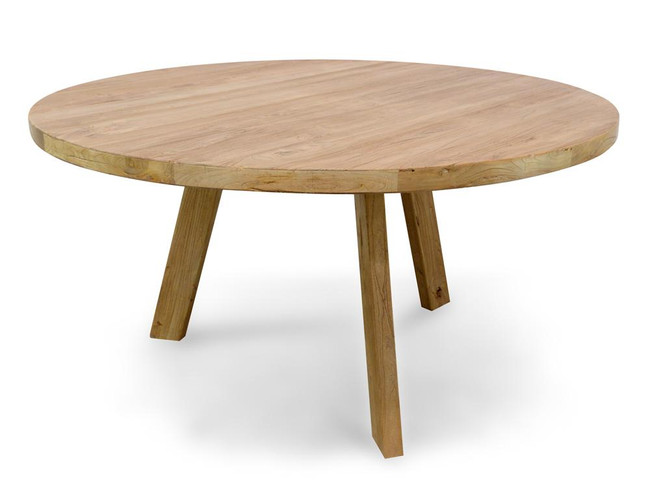 Portland Reclaimed Elm Wood Round Dining Table