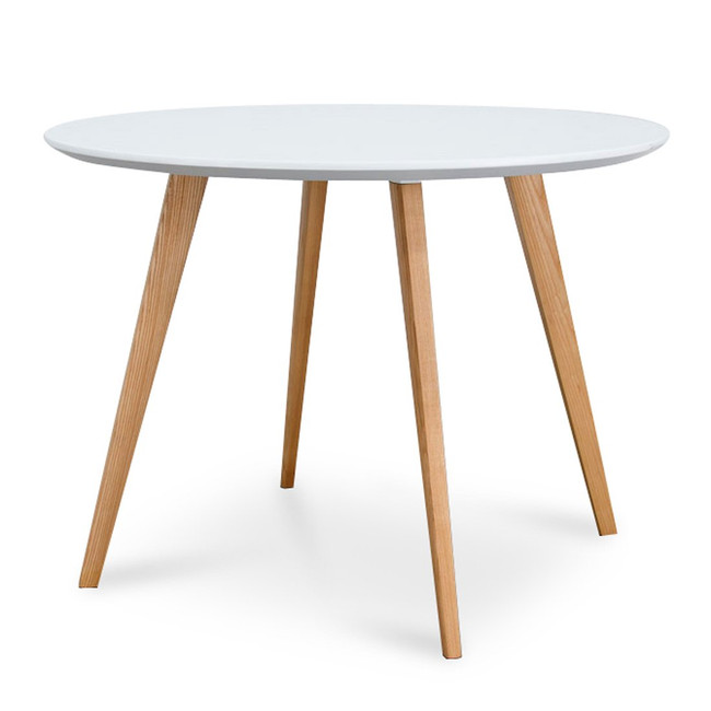 Rushworth Round Dining Table - White - Natural Legs