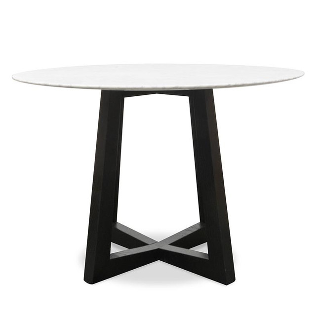 Rutherglen Round Marble Dining Table - Black Base