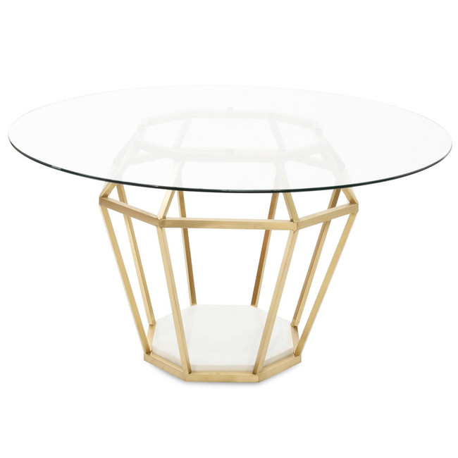 Anglesea Diameter Round Dining Table - Brushed Gold Base