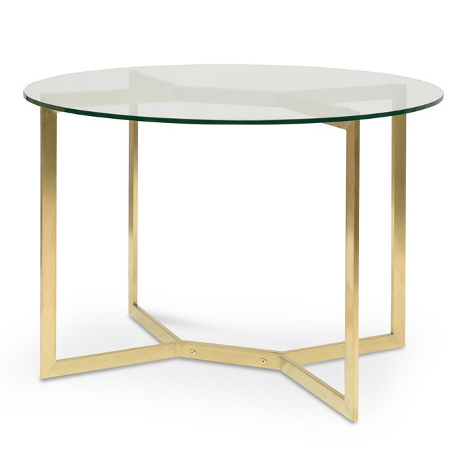 Araluen Round Glass Dining Table - Gold Base