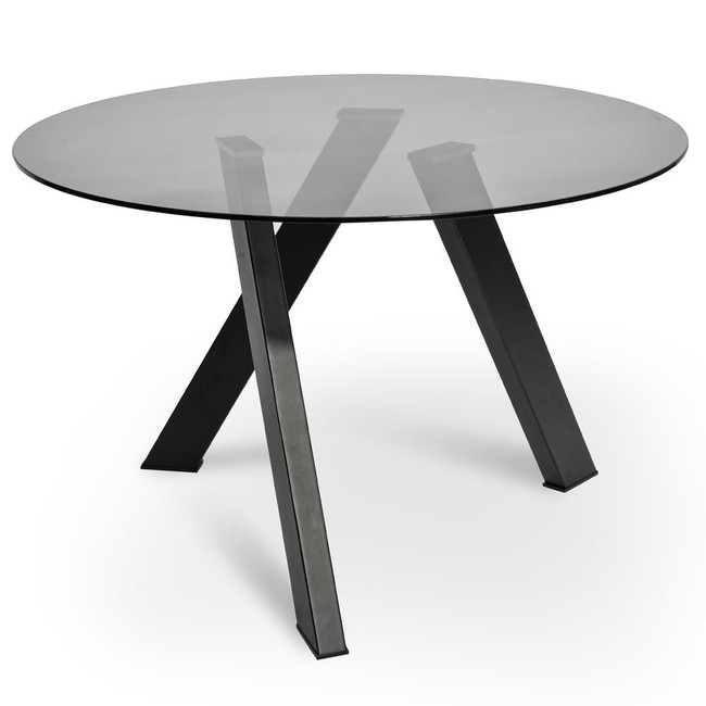 Beltana Dining Table - Smoke Grey Glass - Black Base