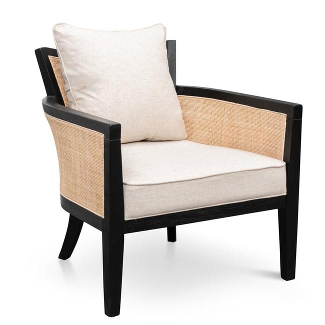 Jindera Rattan Armchair - Black and Sand White