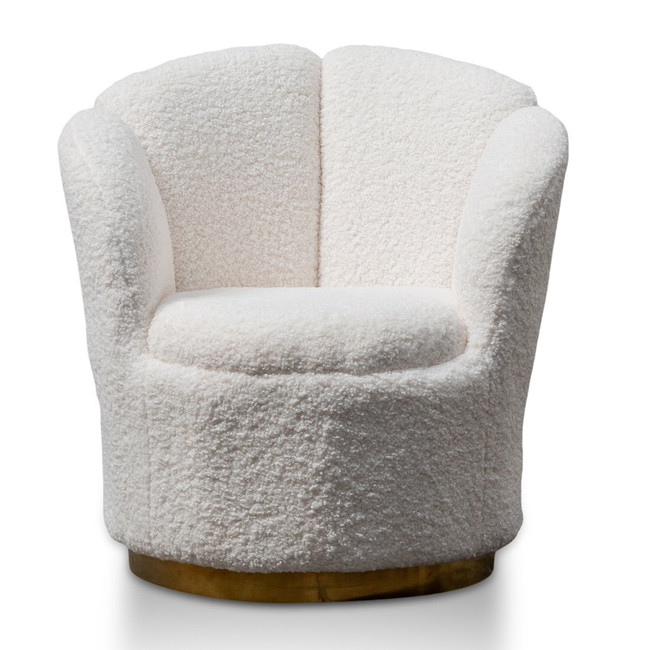 Jugiong Lounge Chair - White synthetic wool Fabric with Brass Gold Base