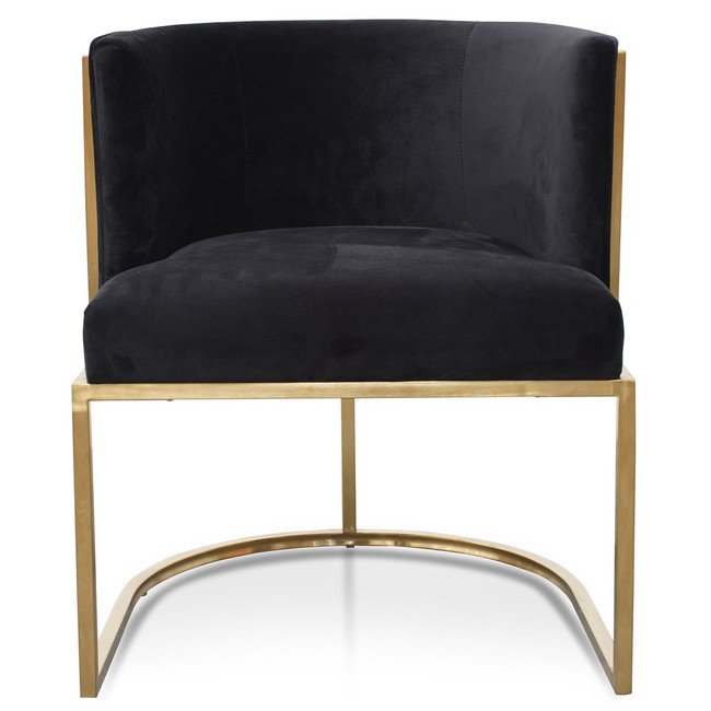 Mittagong Lounge Chair In Black Velvet Seat - Brushed Gold