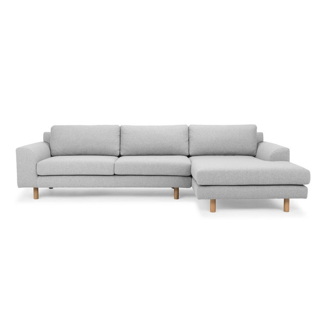 Armidale 3 Seater Right Chaise Sofa - Light Grey