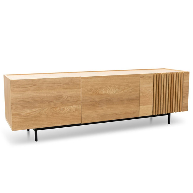 Kettering Entertainment TV Unit - Natural with Black Legs