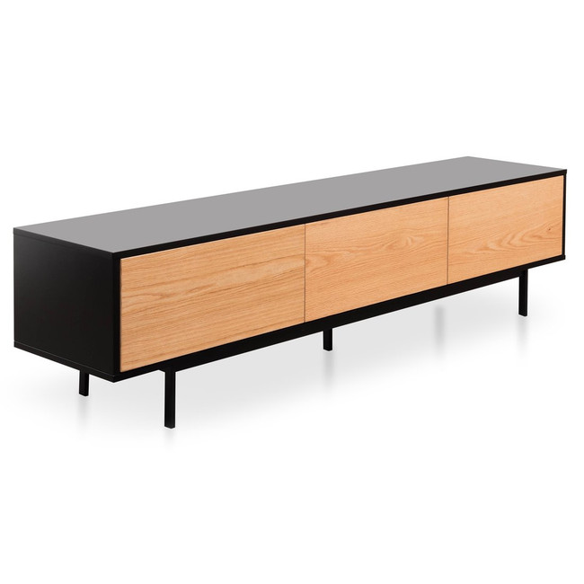 Cunnamulla Entertainment TV Unit - Black Frame - Natural drawers