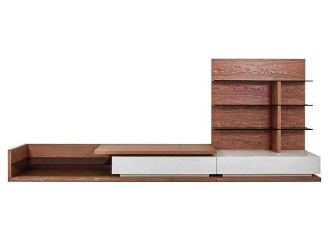 Gresford TV Unit With Shelves - Lowline - Walnut