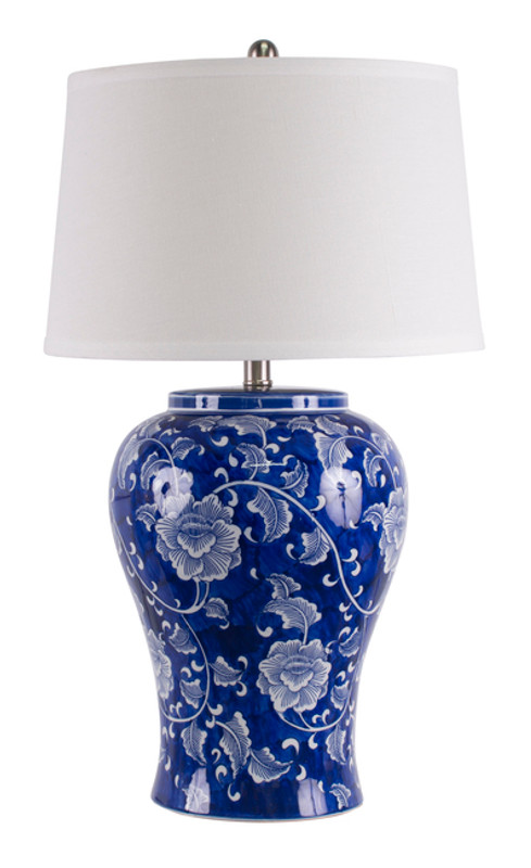 Blue and White Trellis Table Lamp hand painted with shade