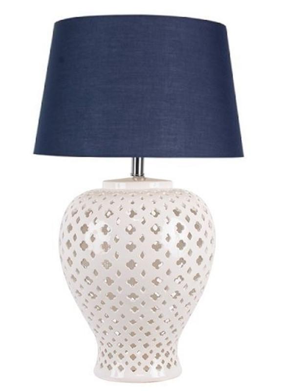 Lattice Ceramic Tall Antique White Table Lamp Blue