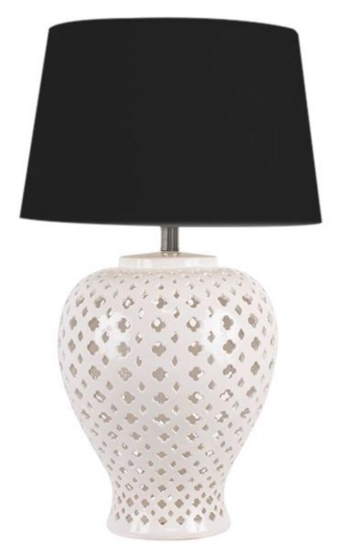 Lattice Tall Antique White Table Lamp Black