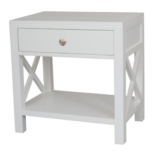 Bella Crossed White Bedside/Side Table