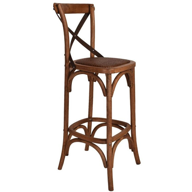 Cavalier Oak Barstool With Metal Straps