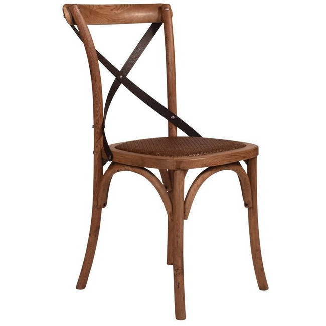 Cavalier Oak Chair With Dark Metal Straps