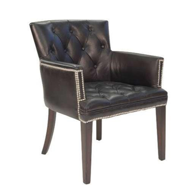 Comfy Black Leather Worn Coal Chair