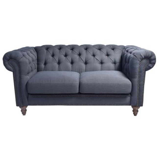Hendrix Chesterfield Linen Shark Sofa