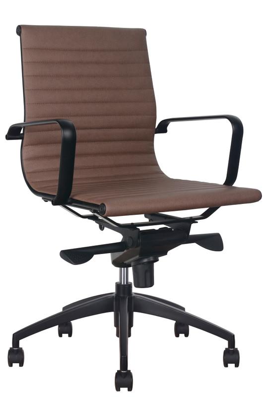 Haley Medium Back Tan PU Leather Executive Chair