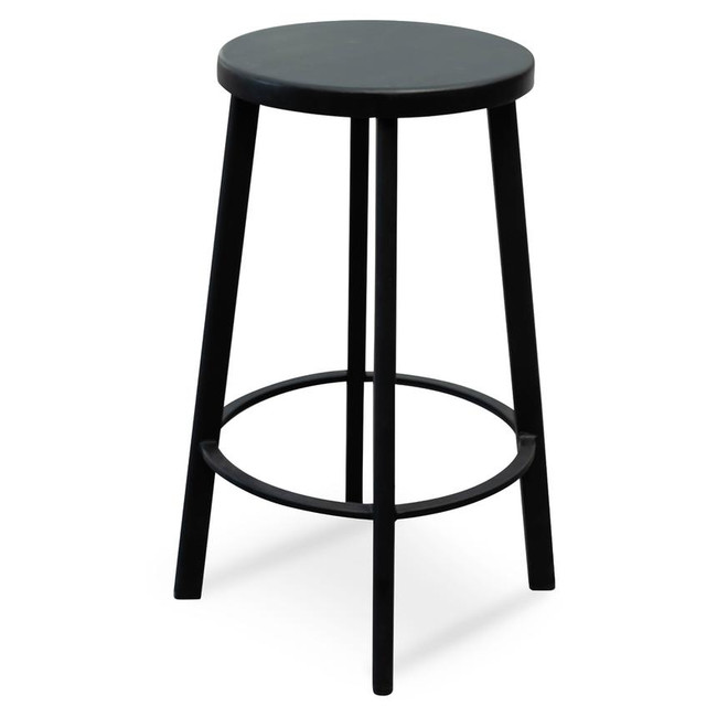 Henry 65cm Bar Stool With Black Timber