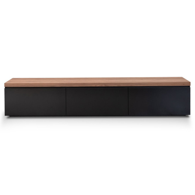 Ferndale 2.4m Natural Top Black TV Entertainment Unit
