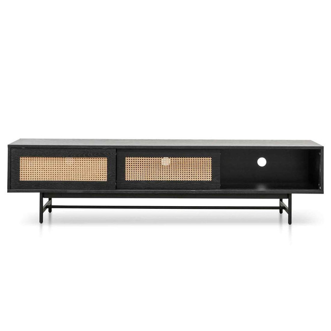 Coogee Black with Natural Rattan Door Oak Entertainment TV Unit